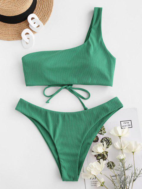 fancy ZAFUL Ribbed Lace Up One Shoulder Bikini Swimwear - LIGHT GREEN L Mobile