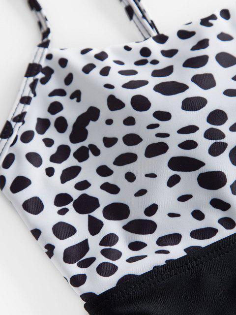 ZAFUL Dalmatinischer Tankini Badebekleidung mit Hoher Taille - Weiß S Mobile