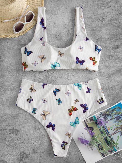 fashion ZAFUL Plus Size Ribbed Butterfly High Cut Knot Bikini Swimwear - WHITE XL Mobile
