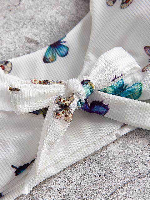 ZAFUL Maillot de Bain Bikini Côtelé Noué Papillon à Coupe Haute de Grande Taille - Blanc XXXL Mobile
