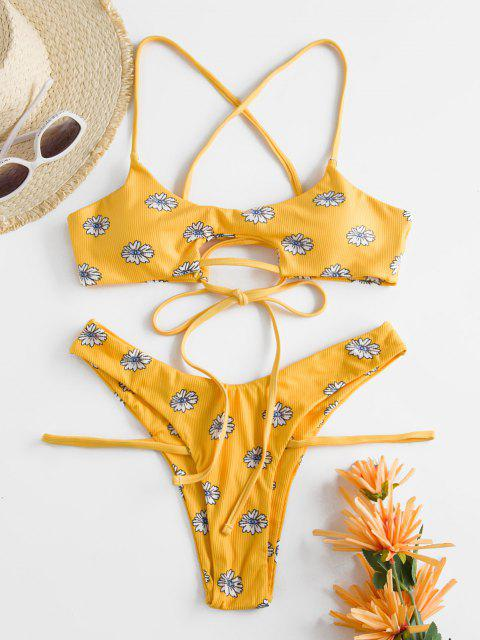 Costume da Bagno Bikini a Costine con Lacci Incrociati di ZAFUL - Giallo S Mobile