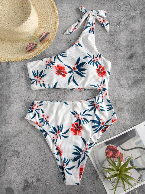 fashion ZAFUL Tie One Shoulder Floral Ribbed One-piece Swimsuit - WHITE M Mobile
