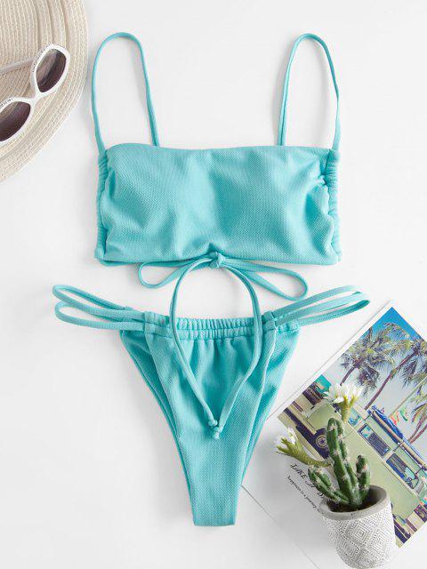 Costume da Bagno Bikini Annodato di ZAFUL a Taglio Alto - Azzurro L Mobile