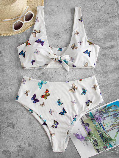 ZAFUL Bikini Fruncido De Corte Alto Con Nudo Y Estampado De Mariposa - Blanco Xxxxl