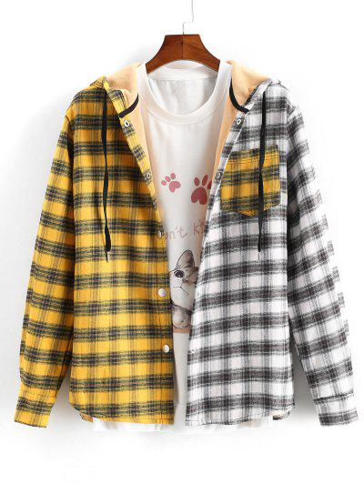 Plaid Colorblock Panel Fleece Hooded Shirt Jacket - Yellow Xl