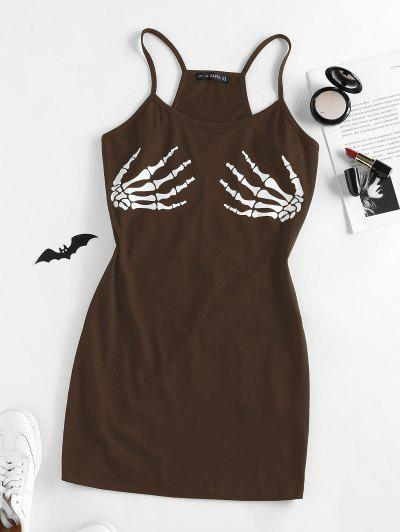 ZAFUL Halloween Skeleton Hand Bodycon Mini Dress - Coffee S