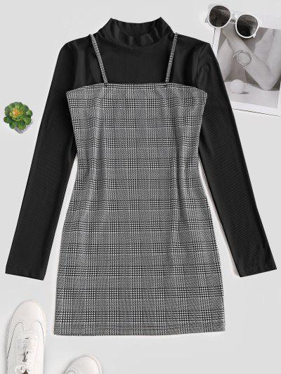 Robe à Bretelle Moulante Carreaux à Grille Avec Haut Côtelé - Noir S