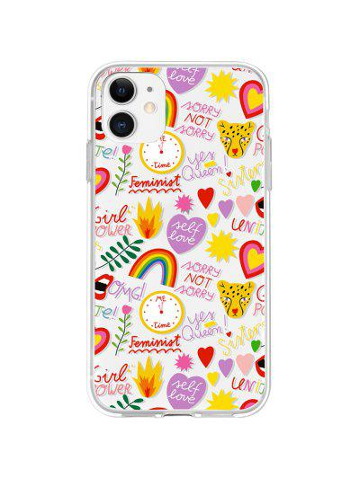 Letters Rainbow Leopard Phone Case For IPhone - Bright Yellow 11