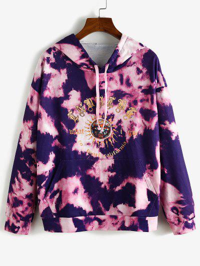 Sun Graphic Tie Dye Front Pocket Hoodie - Purple L