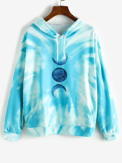 Moon Graphic Tie Dye Oversize Hoodie - Deep Sky Blue S