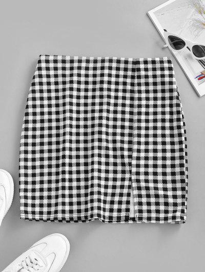 Checked Front Slit Mini Bodycon Skirt - Black S