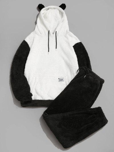 ZAFUL Letter Applique Faux Fur Fluffy Hoodie And Pants Set - Black Xl