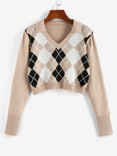 ZAFUL Argyle V Notch Crop Sweater - Light Coffee S