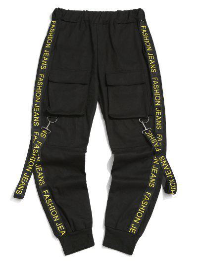 Letter Print Strap Streetwear Cargo Pants - Black 2xl