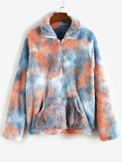 Quarter Zip Front Pocket Tie Dye Fluffy Sweatshirt - Blue M