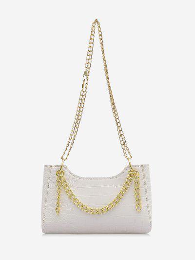Brief Embossed Chain Shoulder Bag - Milk White