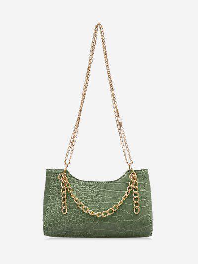 Brief Embossed Chain Shoulder Bag - Hazel Green