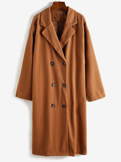 Longline Double Breasted Wool Blend Coat - Brown Bear Xl