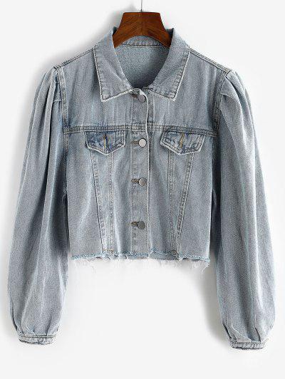 Puff Sleeve Frayed Hem Cropped Denim Jacket - Blue Gray M