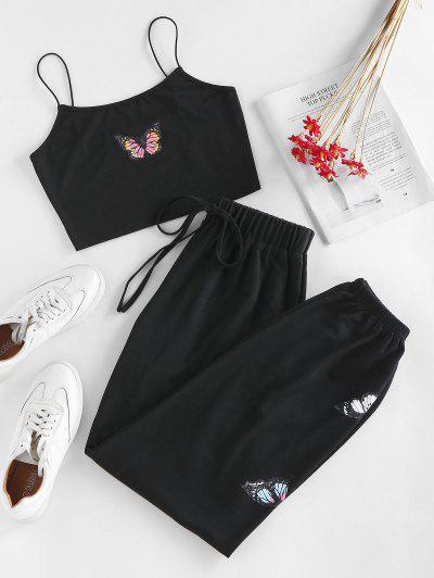 ZAFUL Cami Butterfly Tie Two Piece Pants Set - Black Xl