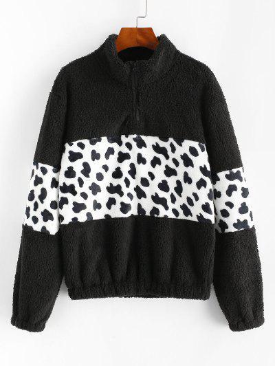 Leopard Quarter Zip Fluffy Sweatshirt - Black L