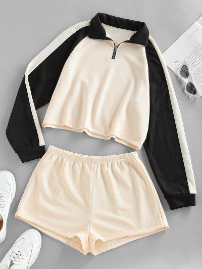 ZAFUL Two Tone Raglan Sleeve Sweatshirt And Shorts Set - Cornsilk M