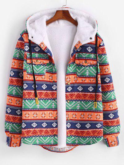 Ethnic Tribal Pattern Plush Hooded Shirt Jacket - Dark Orange Xl