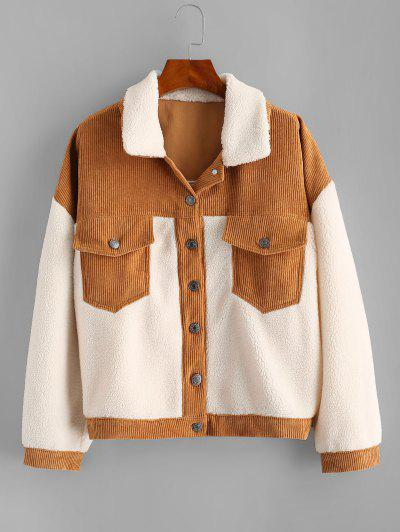 Corduroy Panel Faux Shearling Cargo Jacket - White L