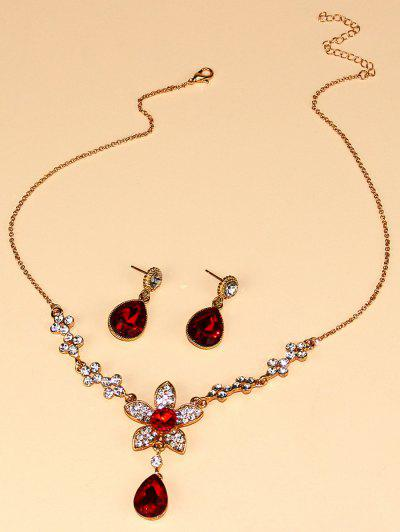 Floral Water Drop Faux Crystal Necklace Earrings Set - Golden
