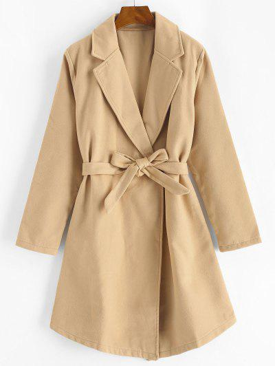 Snap Button Belted Wool Blend Coat - Light Coffee S