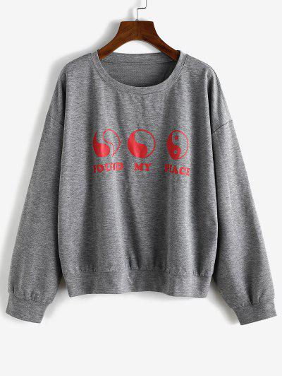 Loose The Eight Diagrams Graphic Sweatshirt - Gray S