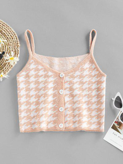 ZAFUL Houndstooth Button Up Cami Sweater Tank Top - Light Orange L