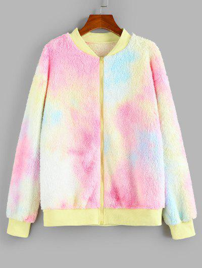 ZAFUL Tie Dye Plush Drop Shoulder Jacket - Multi M