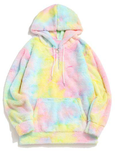 Tie Dye Faux Fur Ring Half Zipper Hoodie - Corn Yellow L
