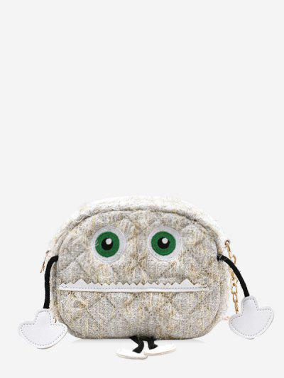 Cartoon Robot Pattern Chain Crossbody Bag - Beige