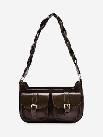 Twist Strap Shoulder Messenger Bag - Coffee