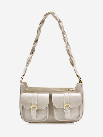 Twist Strap Shoulder Messenger Bag - Beige