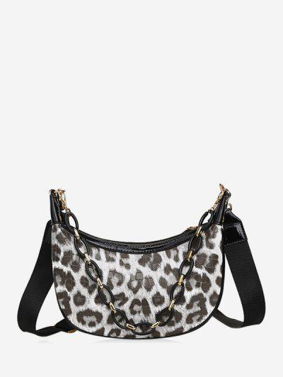 Leopard Printed Chain Crossbody Bag - Beige