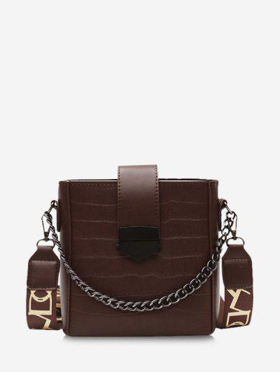 Retro Square Chain Embossing Crossbody Bag - Coffee