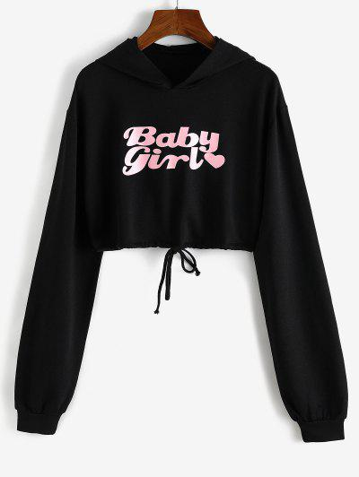 Heart Baby Girl Graphic Cropped Hoodie - Black M