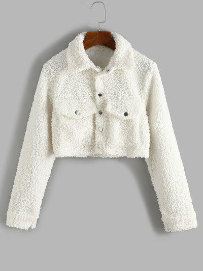 Cropped Flap Pockets Teddy Jacket - Warm White M