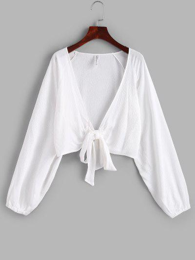 ZAFUL Raglan Sleeve Tie Front Crop Cover Up Top - White