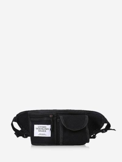 Canvas Pockets Crossbody Bag - Black