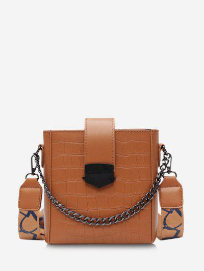 Retro Square Chain Embossing Crossbody Bag - Brown
