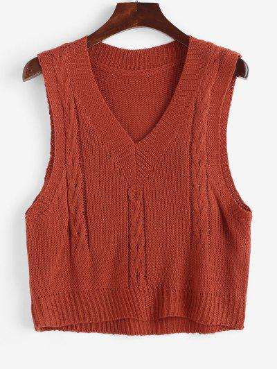Cable Knit Sweater Vest - Red