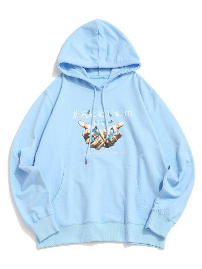Kangaroo Pocket Butterfly Freedom Graphic Hoodie - Light Sky Blue S