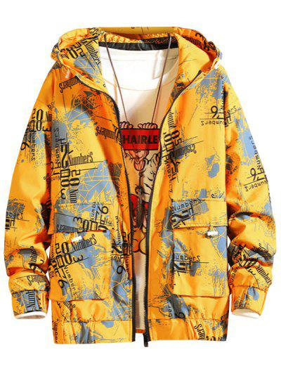 Hooded Graphic Print Double Pockets Jacket - Yellow 4xl