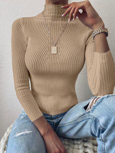 Pullover Mock Neck Plain Slim Sweater - Camel Brown