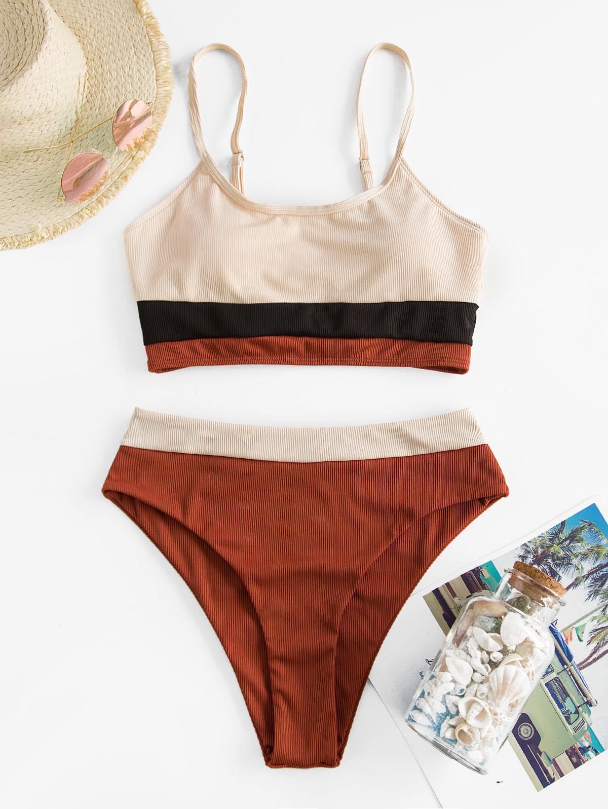 zaful Ribbed Colorblock Tankini Swimwear