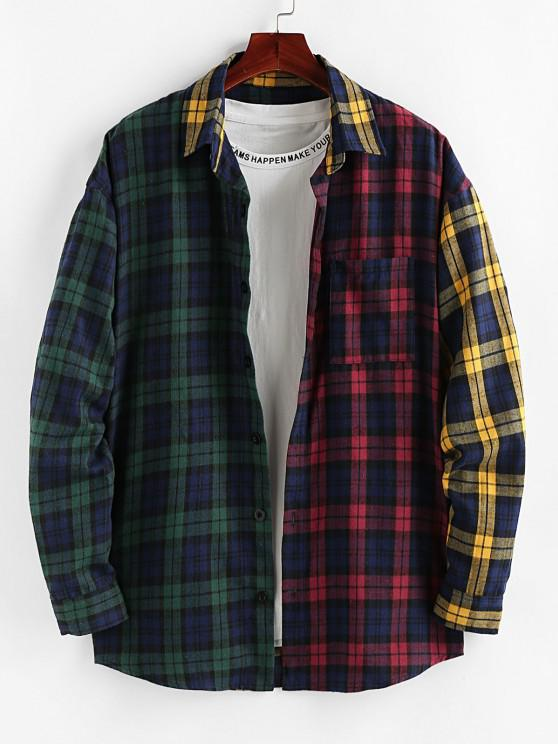 latest ZAFUL Colorblock Plaid Patchwork Pocket Shirt - MULTI S